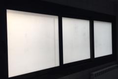 ventana corredera 3 hojas cerrada. Corredera aluminio con rotura de puente termico, vidrio 3+3/16/3+3mate. Cerradura multipunto y manetas acodadas.
